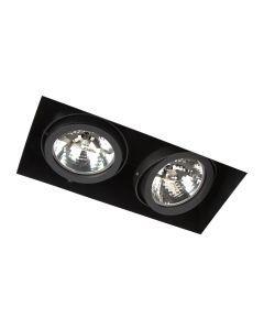 LED-inbouwarmatuur BR1349 Rechth. card. 2xG53 excl. trafo Zwart